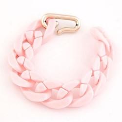 Vastag láncos bizsu karkötő - pasztell rózsaszín