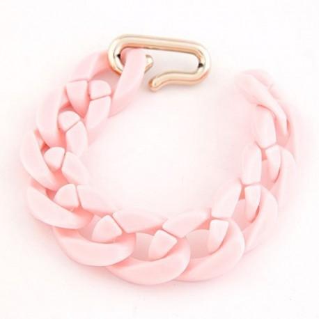 bizsu karkötő Vastag láncos bizsu karkötő - pasztell rózsaszín