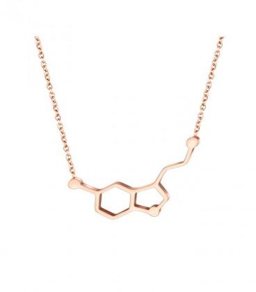 Szerotonin molekula nemesacél nyaklánc, rozé arany bevonattal
