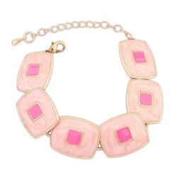 Rózsaszín négyzetes karkötő