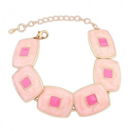 bizsu karkötő Rózsaszín négyzetes karkötő