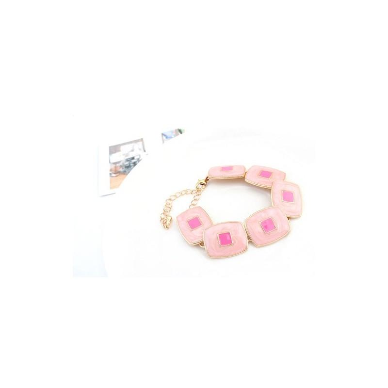 667ef4ee4 Rózsaszín négyzetes karkötő - Bizsu karkötő - Ékszer Pláza Webáruház