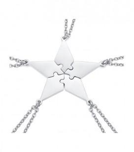 5 részes, gravírozható nemesacél csillag puzzle medál nyaklánccal