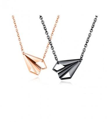 Origami repülők, páros nyaklánc szett nemesacélból - fekete-rozé arany