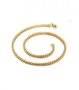Sűrű láncszemes nemesacél nyaklánc (50 cm - 4 mm) arany bevonattal