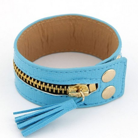 bőr karkötő Műbőr csuklópánt cipzárral - kék