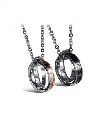 Nemesacél páros medál szett nyaklánccal - gravírozott gyűrűk