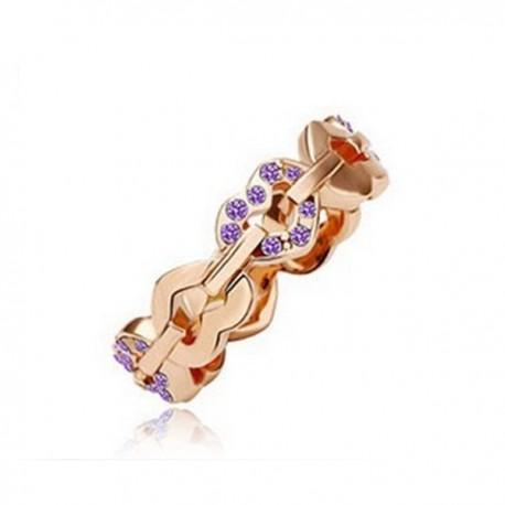 kristályos gyűrű Lila színű apró kövekkel kirakott szív gyűrű