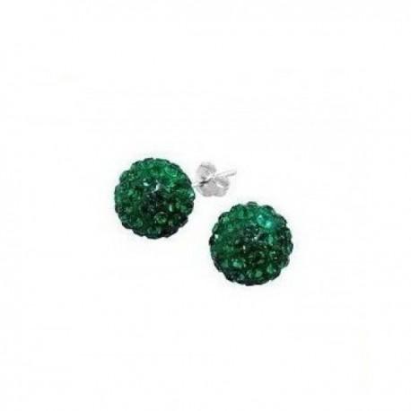 kristályos fülbevaló Méregzöld kristályos shamballa fülbevaló