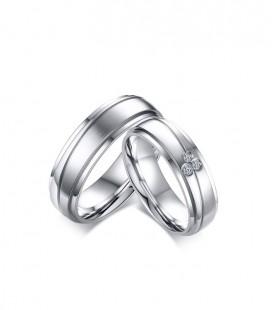 Cirkónia kövekkel díszített, elegáns női nemesacél karikagyűrű