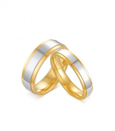 Ezüst sávos női nemesacél karikagyűrű arany bevonattal