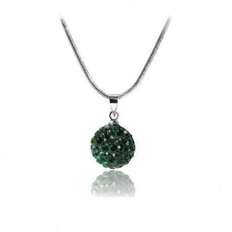 kristályos nyaklánc Shamballa nyaklánc méregzöld kristályokkal
