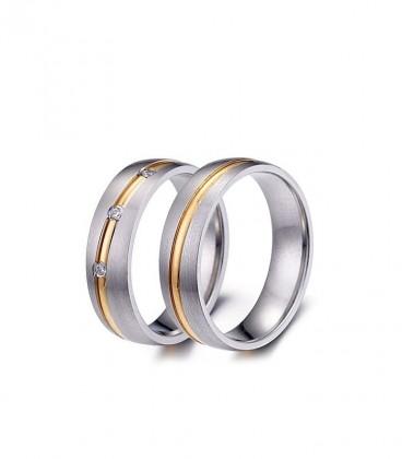 Arany csíkos férfi nemesacél karikagyűrű