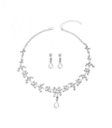 Esküvői ékszerszett, kerek és csepp alakú kristályokkal