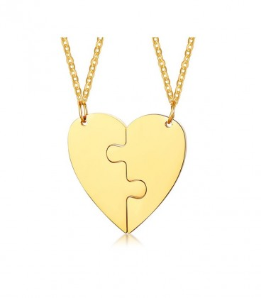 Puzzle - 2 részes, gravírozható nemesacél szív medál nyaklánccal - arany