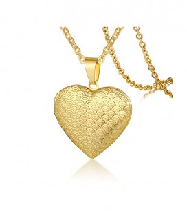 Aranyozott, nyitható nemesacél szív nyaklánc- pikkely mintával