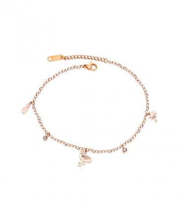 Summer nemesacél bokalánc flamingo charmmal, rozé arany bevonattal