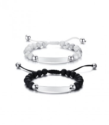 Gravírozható páros karkötő szett, fehér howlit és fekete achát gyöngyökkel