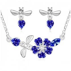 kristályos ékszerszett Kék kristályos virágfüzér ékszerszett