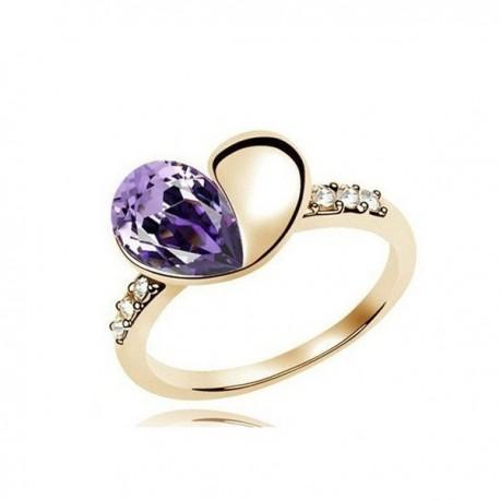 kristályos gyűrű Szív formájú, nagy kristályokkal díszített