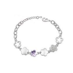 kristályos karkötő Lila kristályvirág karkötő