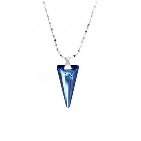 kristályos nyaklánc Zafírkék Swarovski kristályos tüske medál