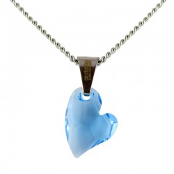 Világoskék Swarovski kristályos szív nyaklánc