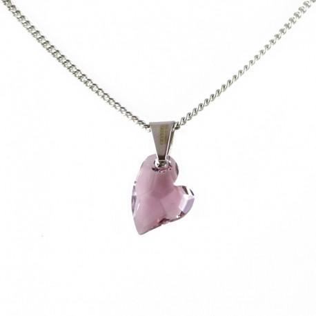 kristályos nyaklánc Lila Swarovski kristályos szív nyaklánc