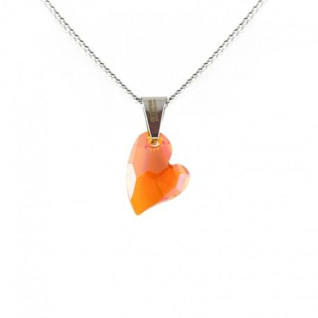kristályos nyaklánc Narancsszínű Swarovski kristályos szív
