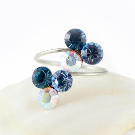 nemesacél gyűrű Kék szeder nemesacél gyűrű, Swarovski
