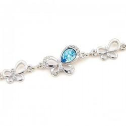 Kék Swarovski kristályos pillangós karkötő