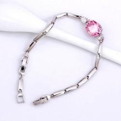 kristályos karkötő Rózsaszín cirkónia köves karkötő, ródium
