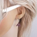 kristályos fülbevaló Rózsaszín kristályokkal díszített