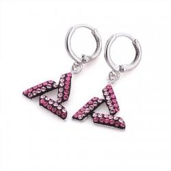 Rózsaszín kristályokkal díszített háromszög fülbevaló