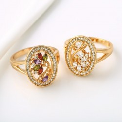 kristályos gyűrű Cirkónia virágokkal díszített gold filled gyűrű