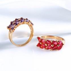 kristályos gyűrű Virágszirom, gold filled gyűrű