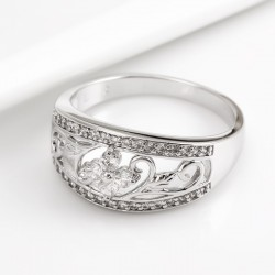 kristályos gyűrű Hófehér cirkónia köves jégvirág gyűrű, ródium