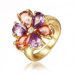 Gold filled, színes cirkónia köves virág gyűrű