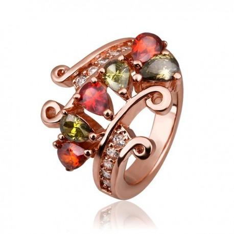 kristályos gyűrű Gold filled, rózsaaranyozott gyűrű