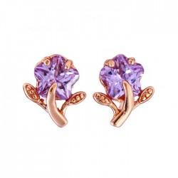 Lila cirkónia köves virág fülbevaló - gold filled