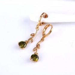 kristályos fülbevaló Zöld cirkónia köves virág fülbevaló - gold