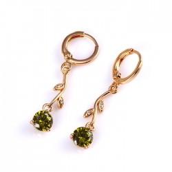 Zöld cirkónia köves virág fülbevaló - gold filled