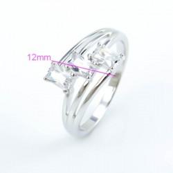 kristályos gyűrű Hófehér cirkónia köves gyűrű, ródium bevonattal