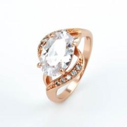 Fehér cirkónia köves, rózsaaranyozott gyűrű - gold filled