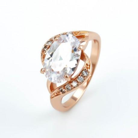 kristályos gyűrű Fehér cirkónia köves, rózsaaranyozott gyűrű -