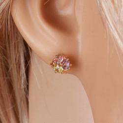 kristályos fülbevaló Színes cirkónia köves gömb fülbevaló -