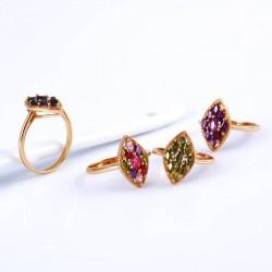 kristályos gyűrű Gold filled, színes cirkónia kövekkel kirakott