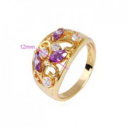 kristályos gyűrű Elegáns gold filled koktél gyűrű - Lila-Fehér