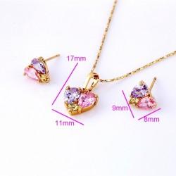 kristályos ékszerszett Színes cirkónia köves, szív alakú gold