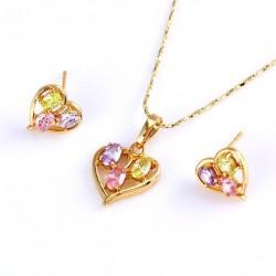 kristályos ékszerszett Gold filled szív ékszerszett, színes